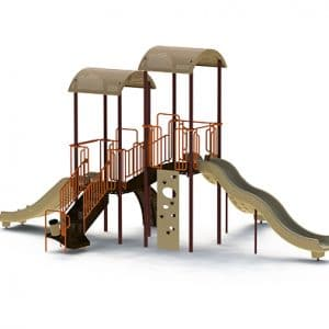 Connecticut playground equipment goplay 4 composite play set sienna brown tan