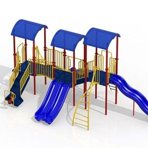 CT Playground equipment GoPlay 5 composite play set carnival blue red