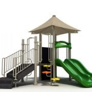 Commercial play set with climbing wall, ages 2-12