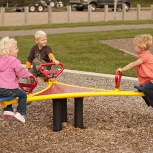 Interactive playground equipment for children to rock on
